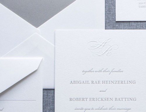 custom blind embossed monogram invitation • Abby